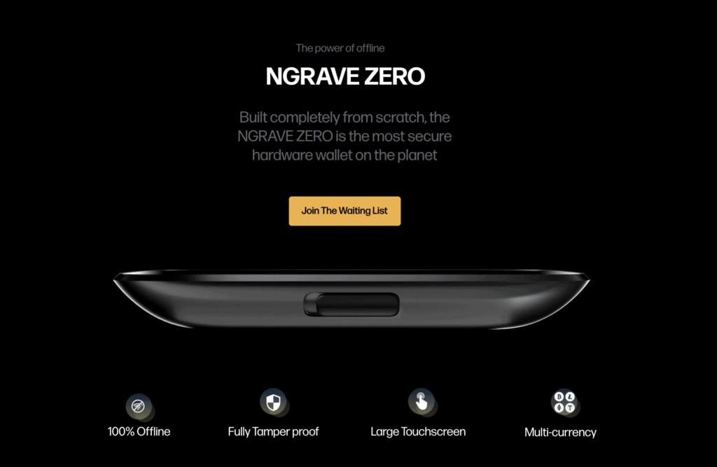 Features of new crypto wallet Zero from Ngrave