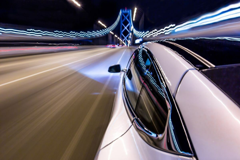 Tesla Over Bay Bridge